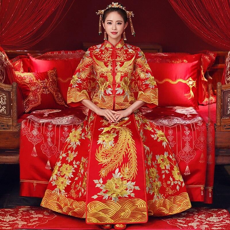 Chine Style robe de mariée broderie nuptiale cheongsam à l'étranger mariée traditionnelle élégante Qipao costumes femmes grande taille S-5XL