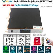Android караоке-плеер/Jukebox, AK1C38TVBOX, 4 ТБ HDD 84 K чистые английские песни, бесплатные YOUTUBÊ, домашние KTV поют