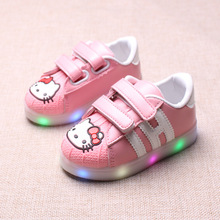 2017 New Spring and Autumn Children's Colorful Luminous Shoes for Boys and Girls Led Cartoon Cat Casual Shoes YXX