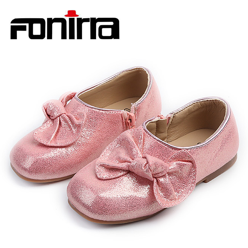 Newest Stylish High Quality Little Girls Round Toe Flat Loafers Toddlers Glossy Bow-knots Shoes With Zipper 286