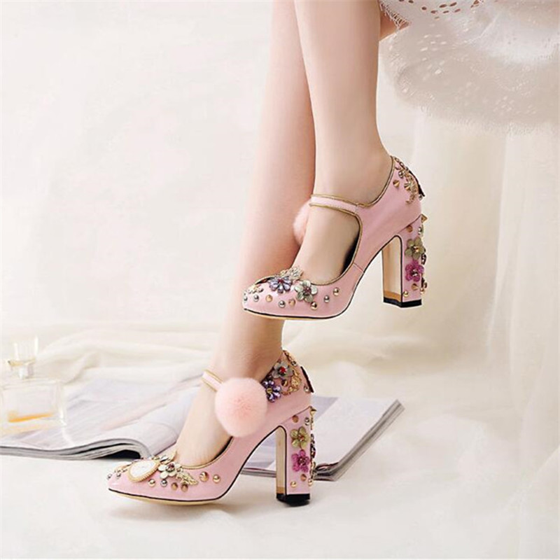 Aliexpress.com   Buy Prova Perfetto Cute Pink Women Pumps Chunky High Heels  Mary Janes Ladies Shoes Crystal Valentine Shoes Stiletto Wedding Shoes from  ... c0e6e5b2a6c4