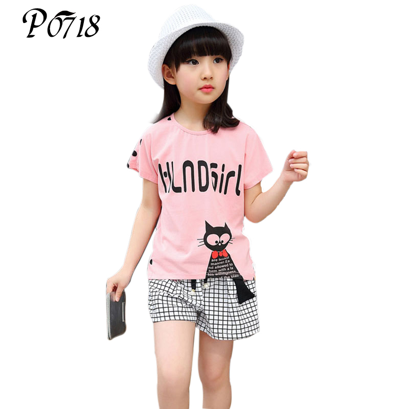 2018 New Little Girls Clothing Sets Casual Summer Kids Children Clothes Cotton Cute Cat T-shirt Tops + Shorts Pants Girls Suits 2016 spiderman children clothing kids summer little baby cotton clothing sets t shirts and shorts casual fashional dress 0440