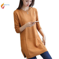 Autumn Female Medium Length Sweater Hedging Large Size Casual Women Sweater Long Sleeved Knit Ladies Sweater