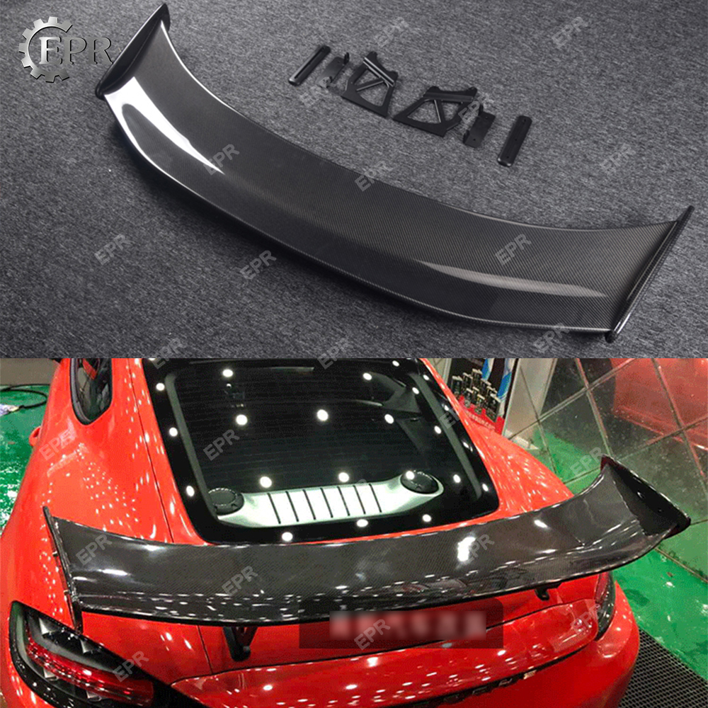 Carbon Wing Lip For Porsche Boxster 718 Cayman 982 GT4 Type Carbon Fiber GT Spoiler Body Kit Tuning Trim For Boxster 718 Racing