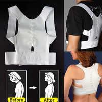 Postura magnética corrector espartilho feminino masculino suporte de volta cinta alisamento ortopédico preto branco colete espartilho cinto