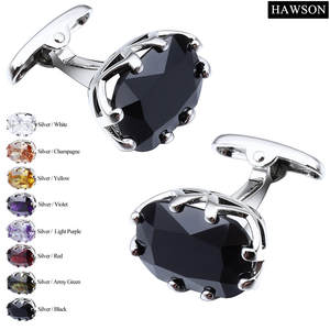HAWSON Zircon Cuff links Luxury French Cufflinks for Mens Shirt Romantic Anniversary Wedding Gift