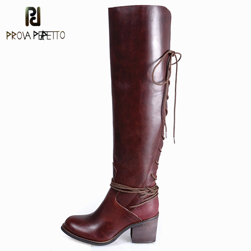 Prova Perfetto Warm Back Lace Up Genuine Leather Do Old Chunky High Heel Boots Concise Design Over The Knee High Women Boots laconic women s mid calf boots with lace up and chunky heel design