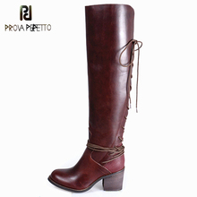 Prova Perfetto Warm Back Lace Up Genuine Leather Do Old Chunky High Heel Boots Concise Design Over The Knee High Women Boots