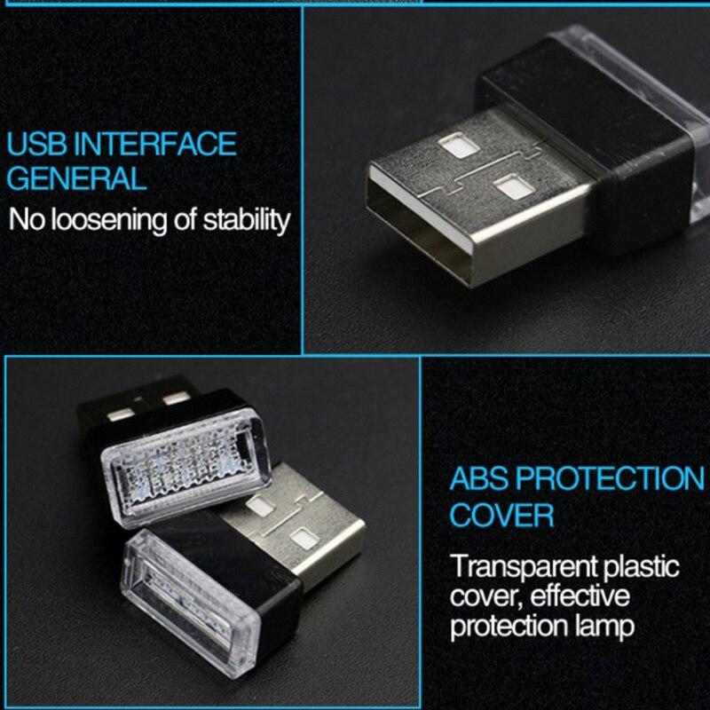 Мини-светодиод машины светильник авто Интерьер USB атмосферный свет Plug and Play Декор лампа аварийный светильник ing PC автомобильные аксессуары