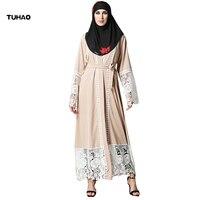 TUHAO 2018 New Spring Winter Female Musilim Dress Maxi Long Flare Sleeve Vintage Lace Elegant Plus Size Women Clothing ST47