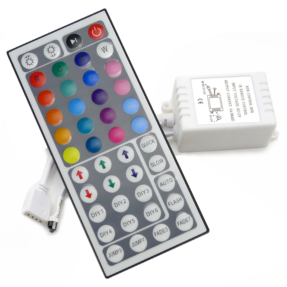 RGB Controller LED controller 44 key IR Remote Control + Controller Applicable to 3528 or 5050 RGB LED strip