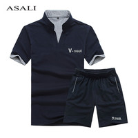 2018 Brand Casual Suit Men Summer Sets Active Tracksuits For Mens Stand Collar S Vetement Homme