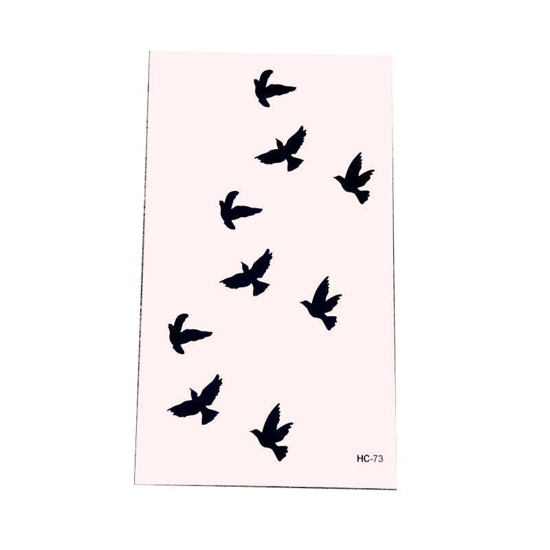 Black Tattoo Stickers Removable Water Transfer tattoos disposable Waterproof Temporary Sticker Flying Birds massage