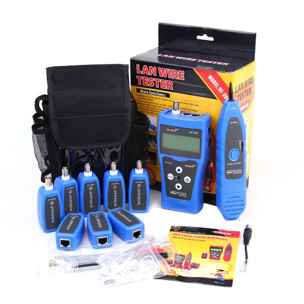 Noyafa NF-388 English Version Multi-functional Network Cable Tester Remote Cable Tracker RJ45 RJ11 LAN Tester LCD Display Blue