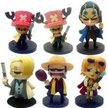 6pcs/set Anime PVC figure toys One Piece triad style ornaments luffy Sanji Tony Chopper Nami