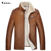 Gours Winter Men's Genuine Leather Jackets Brand Brown Sheepskin Jacket and Coats with Fur Wool Collar Warm 2016 New Arrival 4XL