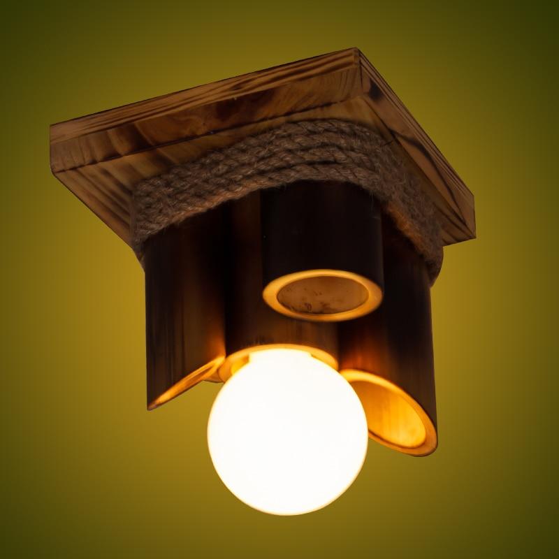 New Style bamboo Led Ceiling Light E27 G95 12W AC85 265V Bedroom Ceiling Lamp Modern indoor