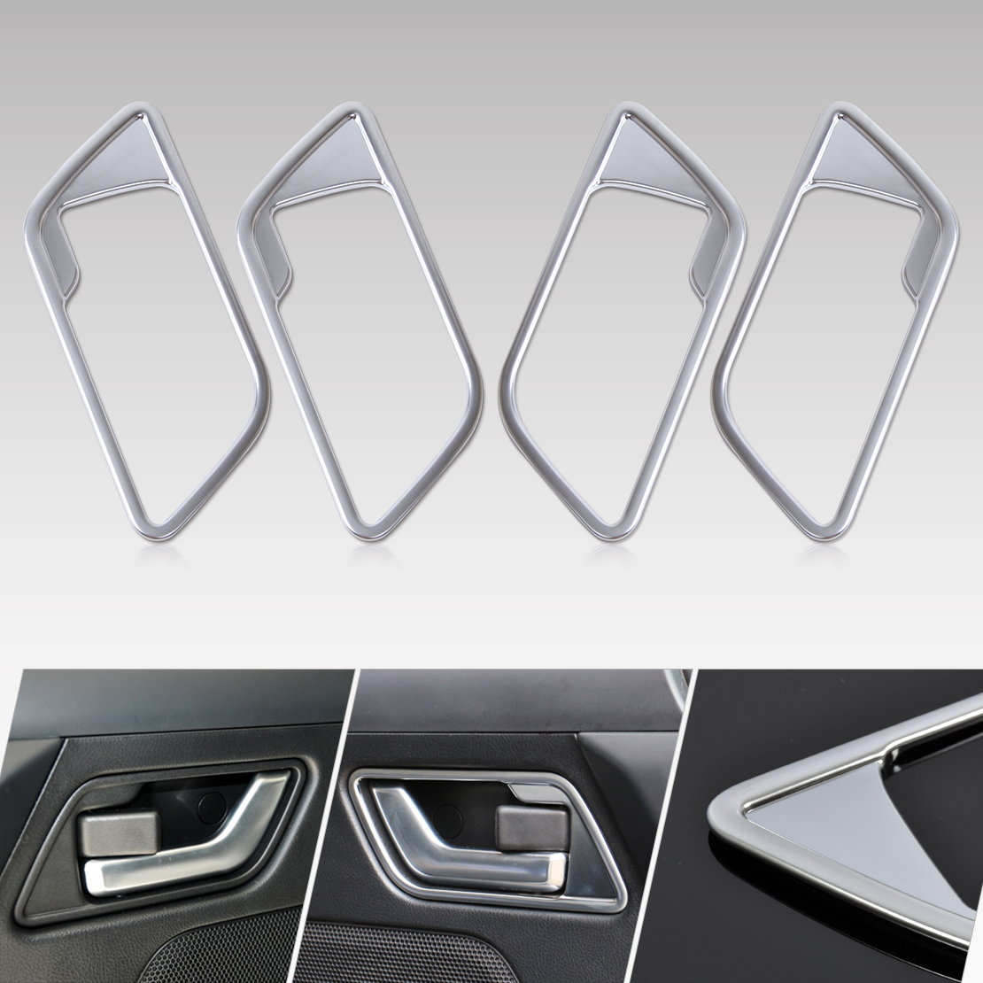 beler 4pcs New Car Interior Door Handle Cover Frame Trim for Land Rover FREELANDER 2 LR2 2008 2009 2010 2011 2012 2013 2014 2015