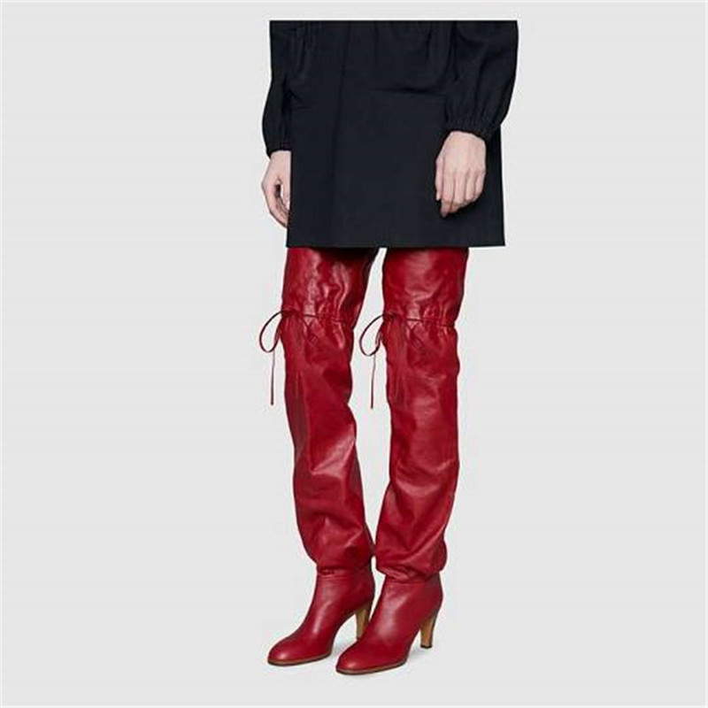 Oberschenkel Stiefel Hohe Rohr Rote D Cowboy Knoten Stiefel Weiblichen Ofen Schmetterling Mode Herbst Super wnPNkX80OZ
