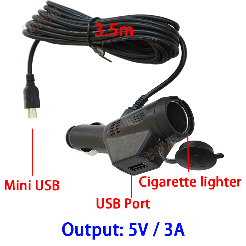 DC 5V 3A Dual USB Car Cigarette Lighter Charger Adapter For Car DVR Vehicle Charging with 3.5m Cable Mini / Micro USB Port комбинезон утепленный для девочки batik аля цвет розовый 144 19з размер 80