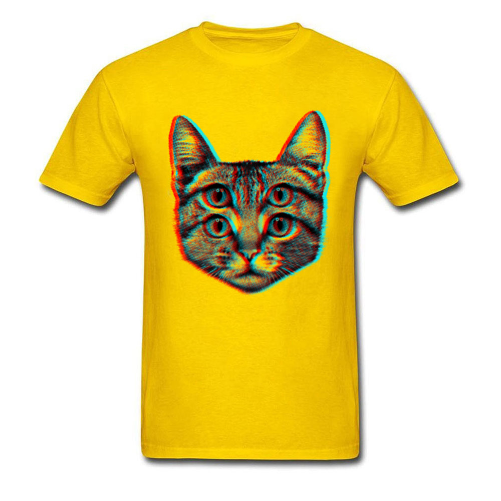 3D Cat Summer/Fall 100% Cotton O-Neck Tops T Shirt Short Sleeve Casual T Shirt 2018 New Funny T Shirt Free Shipping 3D Cat yellow