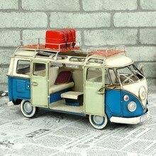 Free Shipping Handmade Antique Tin Model Blue Camping Bus 1960