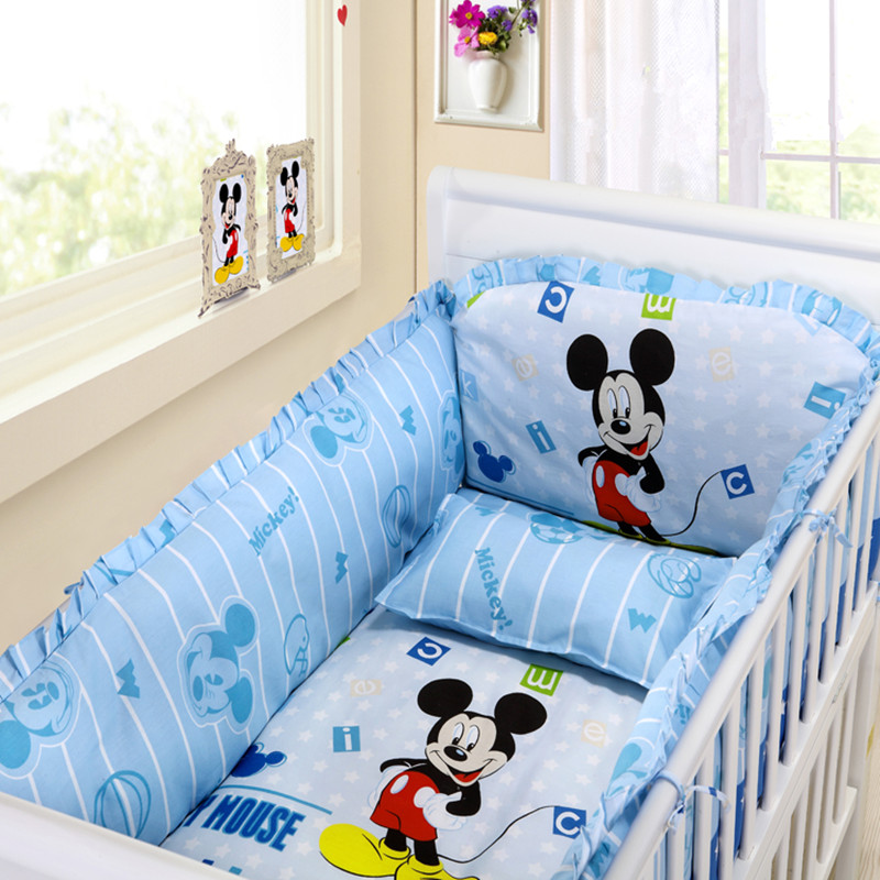 Discount 6pcs Cartoon Baby Bedding Cot Bumper Cotton Bed Sheet Customize Bedding Kit Bed Around  (bumpers+sheet+pillow Cover)