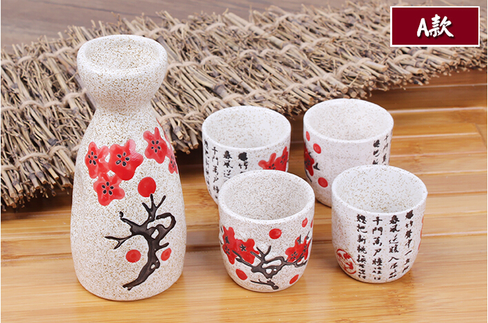Pot de saké en céramique Vintage et tasses serties de personnages poème Cuisine japonaise bouteille de saké esprit Pot ensemble avec des tasses