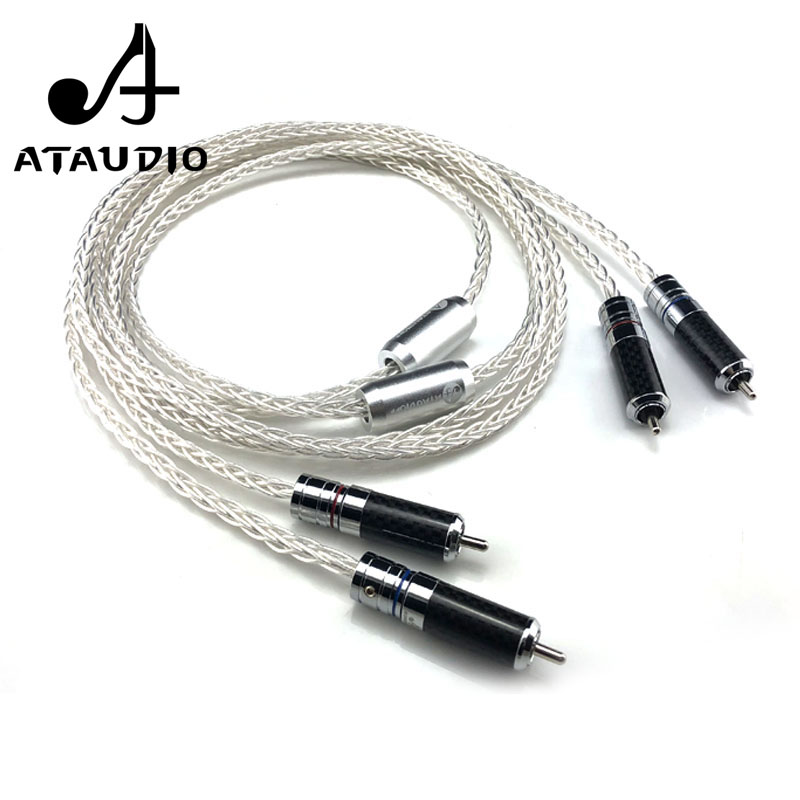 ATAUDIO 7N OCC Silver plated Hifi RCA Cable Hi end 2RCA Male to Male Audio Cable