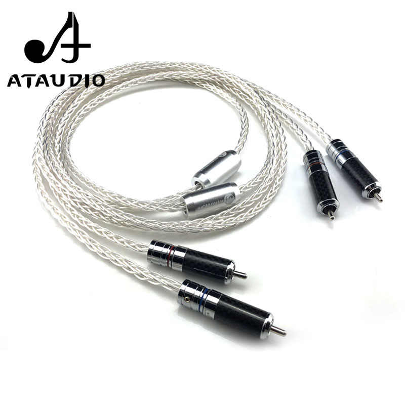 ATAUDIO 7N OCC Silver-plated Hifi RCA Cable Hi-end 2RCA Male to Male Audio Cable 1m 2m 3m