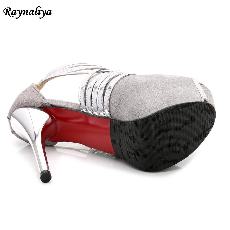 Plata Tacones Cuero Shoes shoes Bling Sandalias Boda 35 Gran 14 Rebaño 44 De Ms Alto b0014 Estilo Cinturones Romano Zapatos shoes Mujer Tacón Cm shoes Tamaño 0Bgqq5n8