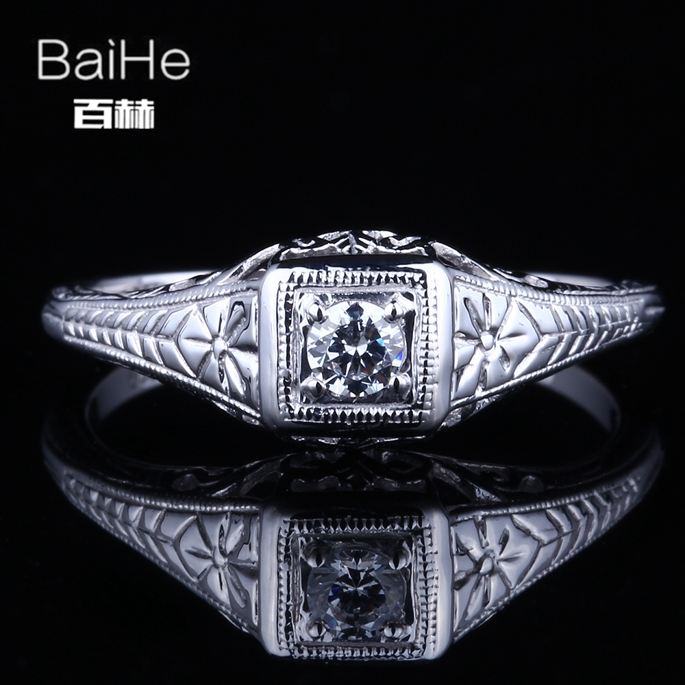 BAIHE Solid 14K White Gold(AU585) 0.21CT Certified Flawless Genuine AAA Graded Cubic Zirconia Engagement Women Fine Jewelry RingBAIHE Solid 14K White Gold(AU585) 0.21CT Certified Flawless Genuine AAA Graded Cubic Zirconia Engagement Women Fine Jewelry Ring