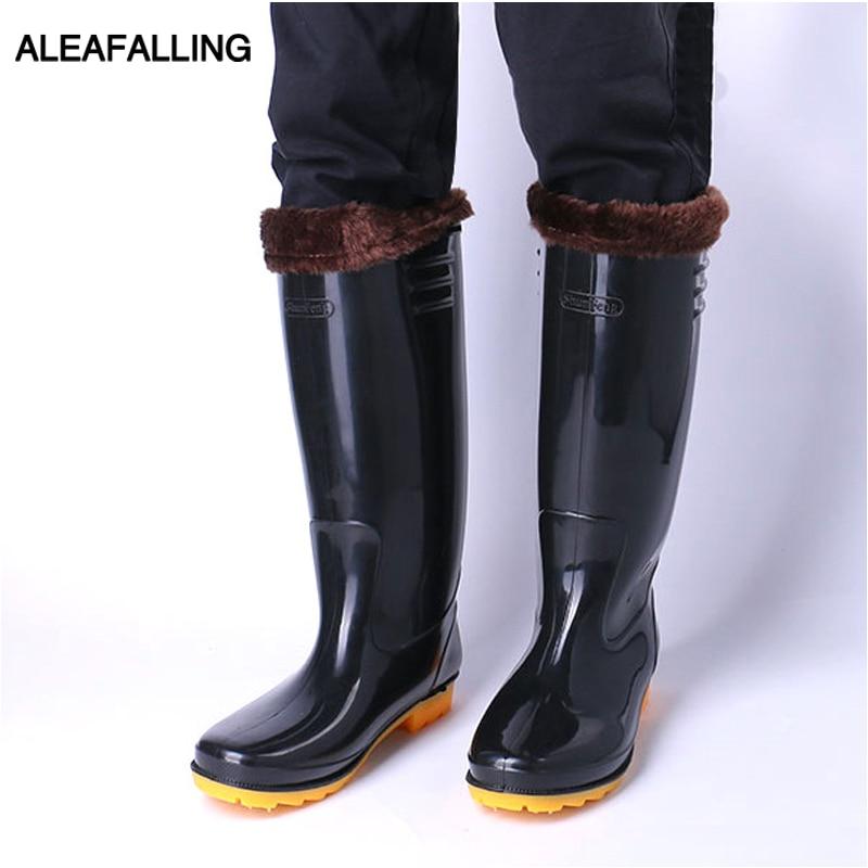 In Aleafalling Männer Regen Stiefel Reife Dame Slip Auf Wasserdichte Dame Schuhe Warme Verdicken Regendicht Mid-kalb Außen Boy Der Schuhe Am04 Novel Design;