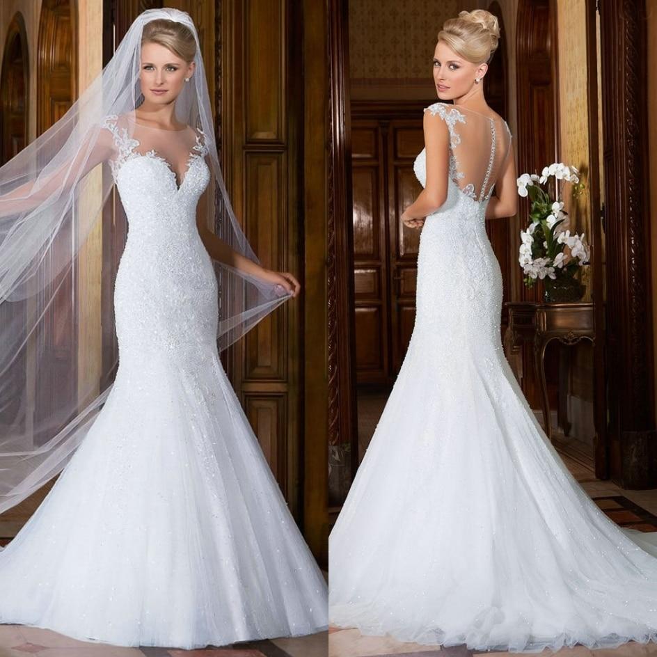af73cbb80b Vestidos de novia elegantes con velo largo - Vestidos no caros 2019