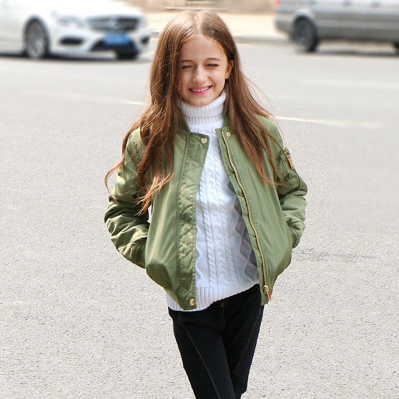 2017 оливкового цвета для девочек Теплые Бейсбол куртка для Зимнее пальто для девочек; детская куртка Outerwear6 От 7 до 16 лет