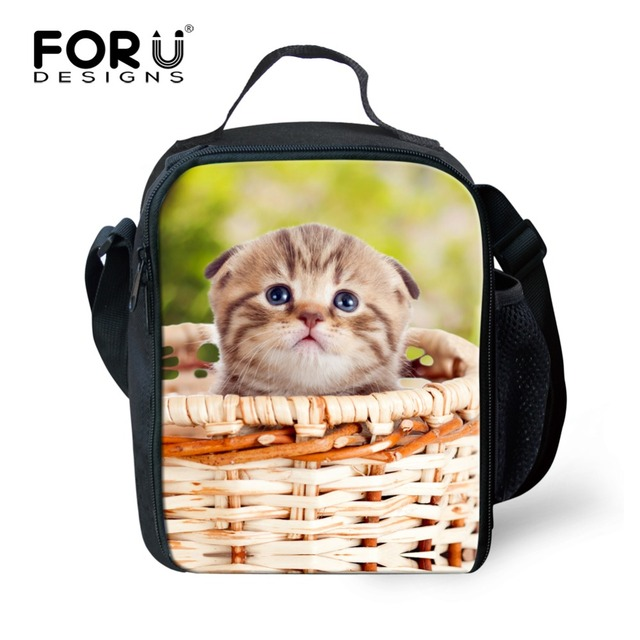 Kawaii Animal Lunch Box Student Portable Insulated Thermal Lunch Bags Cat Print Food Storage Carry Bag Travel Picnic Handbags