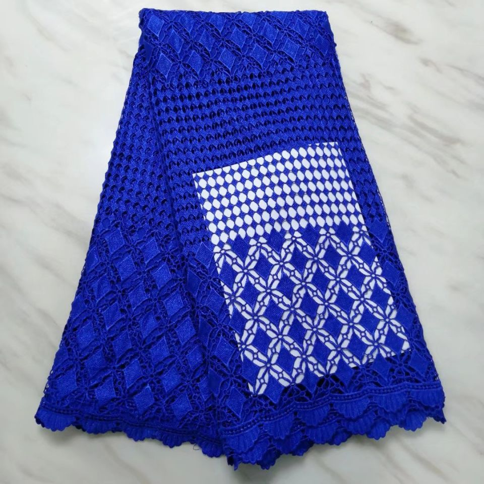5Yards/pc beautiful royal blue african water soluble lace embroidery french mesh guipure lace for dressing BW42-35Yards/pc beautiful royal blue african water soluble lace embroidery french mesh guipure lace for dressing BW42-3