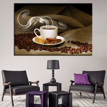 1 Piece Steaming Coffee Paintings Coffee Bean Cup Poster Kitchen Wall Art Framework Canvas Pictures Home Decor HD Printed coffee printed unframed split wall art canvas paintings