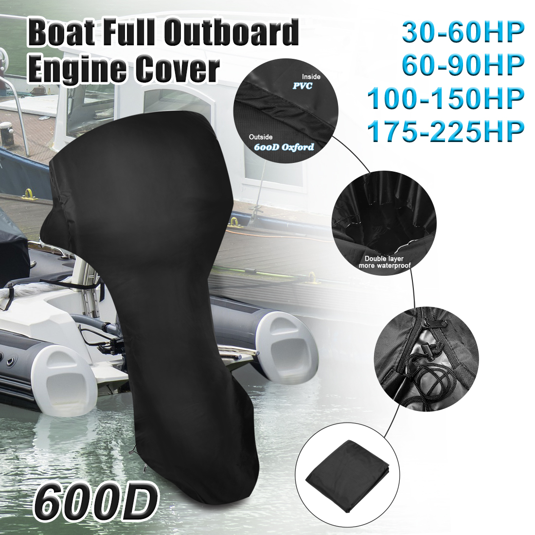 X Autohaux 600D Oxford Cloth PVC Full Boat Motor Cover Outboard Waterproof  Dust Rain UV Resistant Engine Protector 30-225HP