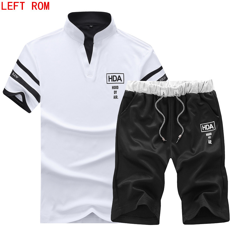 2018 new summer men's   polo   short-sleeved solid color collar   polo   suit short-sleeved casual printing fashion   polo   suit
