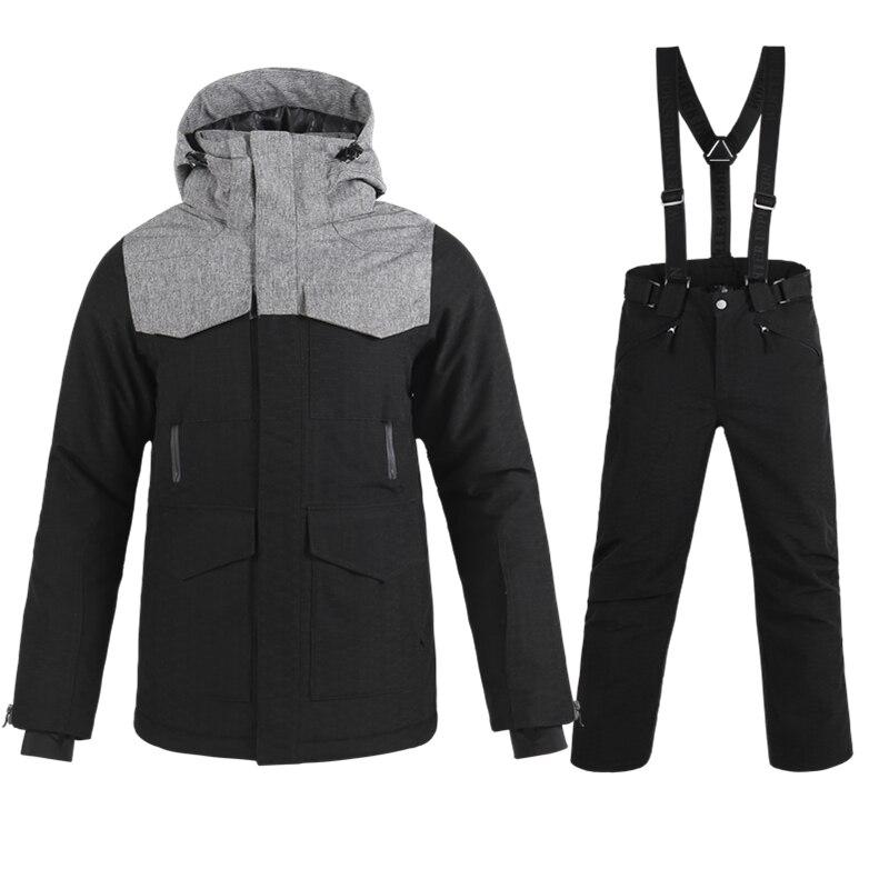 Лыжные комплекты мужской новый бренд двухбортовая Сноубордическая куртка + брюки для взрослых Снежная Одежда непромокаемая теплая устойчи...