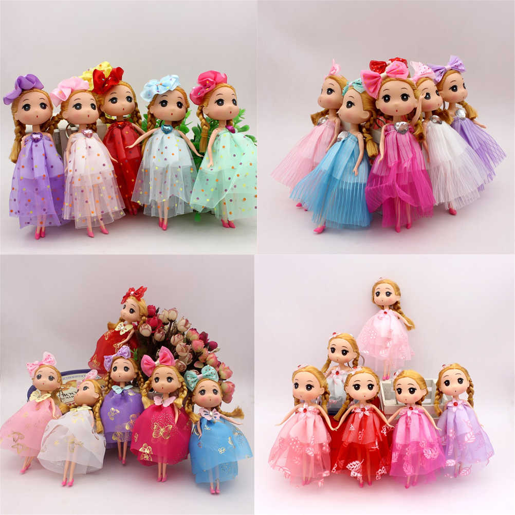 high quality Mini Dolls Toys 18CM Princess Doll Action Figure Toy Keychain Princess Dolls For Girls Anime Brinquedos Gift