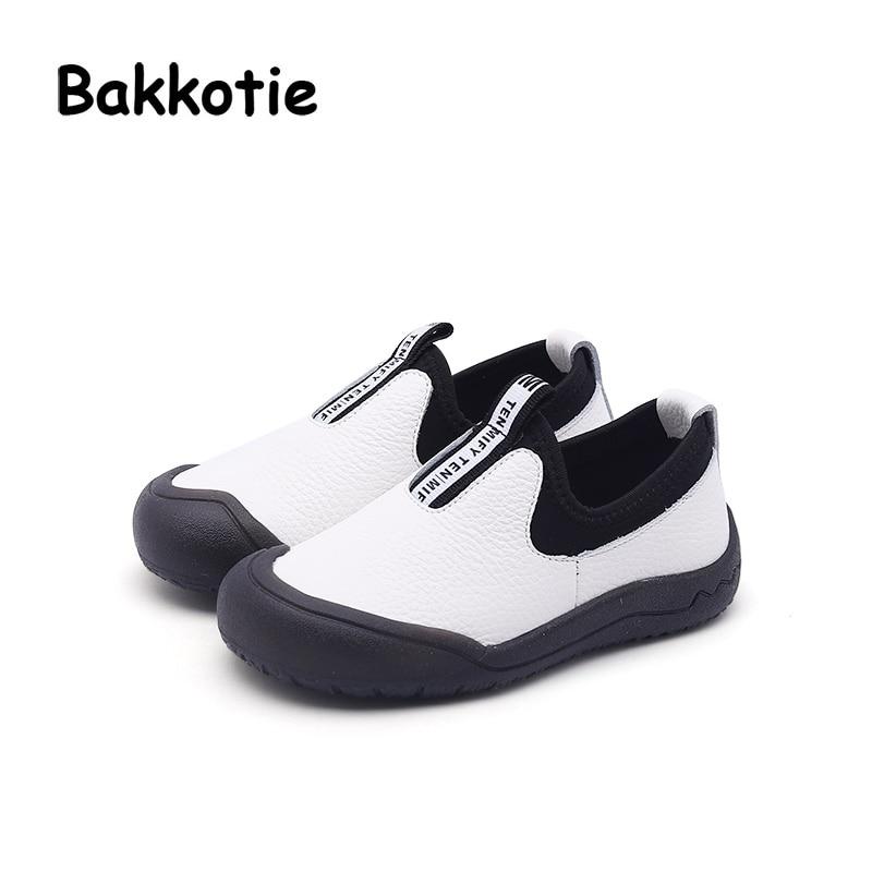 Bakkotie 2018 Fashion New Autumn Children Fashion Shoes Baby Girl Genuine  Leather Flats Kid Boy Slip d3bf5de958ed