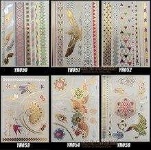 6Designs/Set Metallic Gold Silver Colored Body Art Temporary Tattoo Non-Toxic Flash Tatoo Stickers Indian Tattoos Flesh Lot