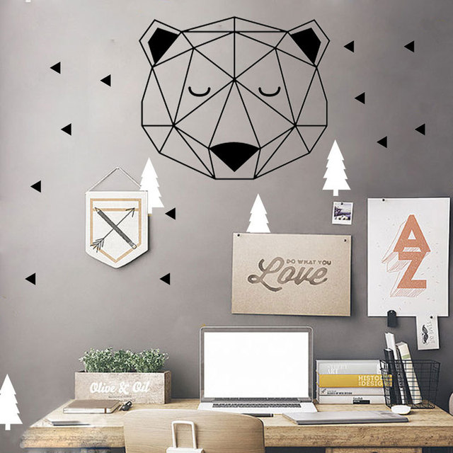 Nordic Style Woodland Bear Head With Triangle Wall Stickers Home Decoration Geometric Vinyl Wall Decal for Kids Rooms Mural A901