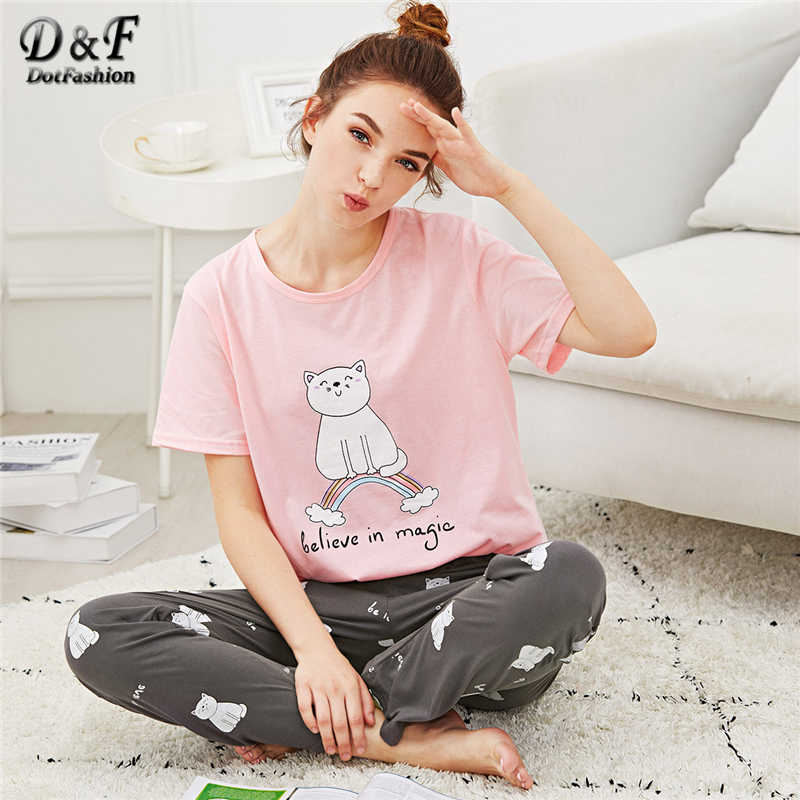 Dotfashion Cartoon Cat   Letter Print Pajama Set Summer Girls Round Neck  Short Sleeve Sleepwear Multicolor 7785caabd