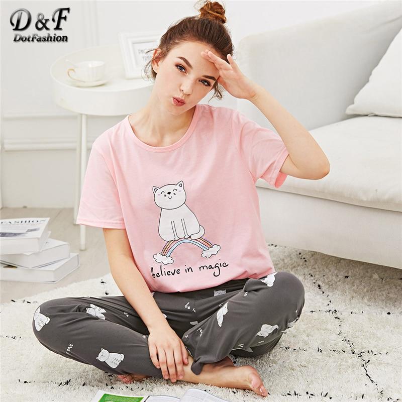 Dotfashion Cartoon Cat & Letter Print Pajama Set Summer Girls Round Neck Short Sleeve Sleepwear Multicolor Ladies Casual PJ Sets