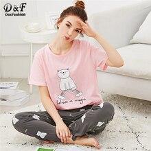 Dotfashion Cartoon Cat Letter Print Pajama Set Summer Girls Round Neck Short Sleeve Sleepwear Multicolor Ladies