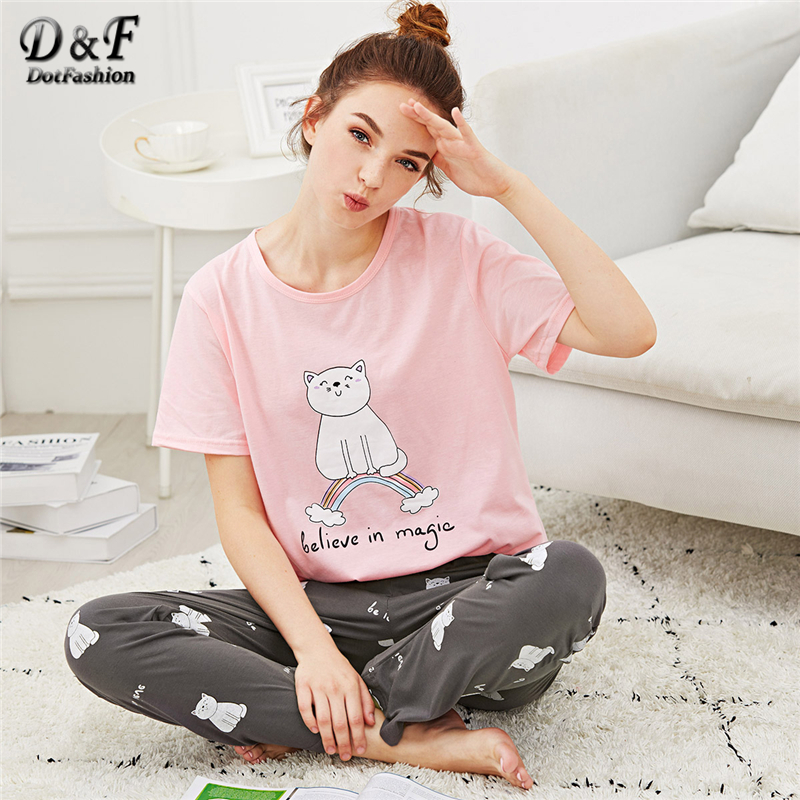 Dotfashion Cartoon Cat & Letter Print   Pajama     Set   Summer Girls Round Neck Short Sleeve Sleepwear Multicolor Ladies Casual PJ   Sets
