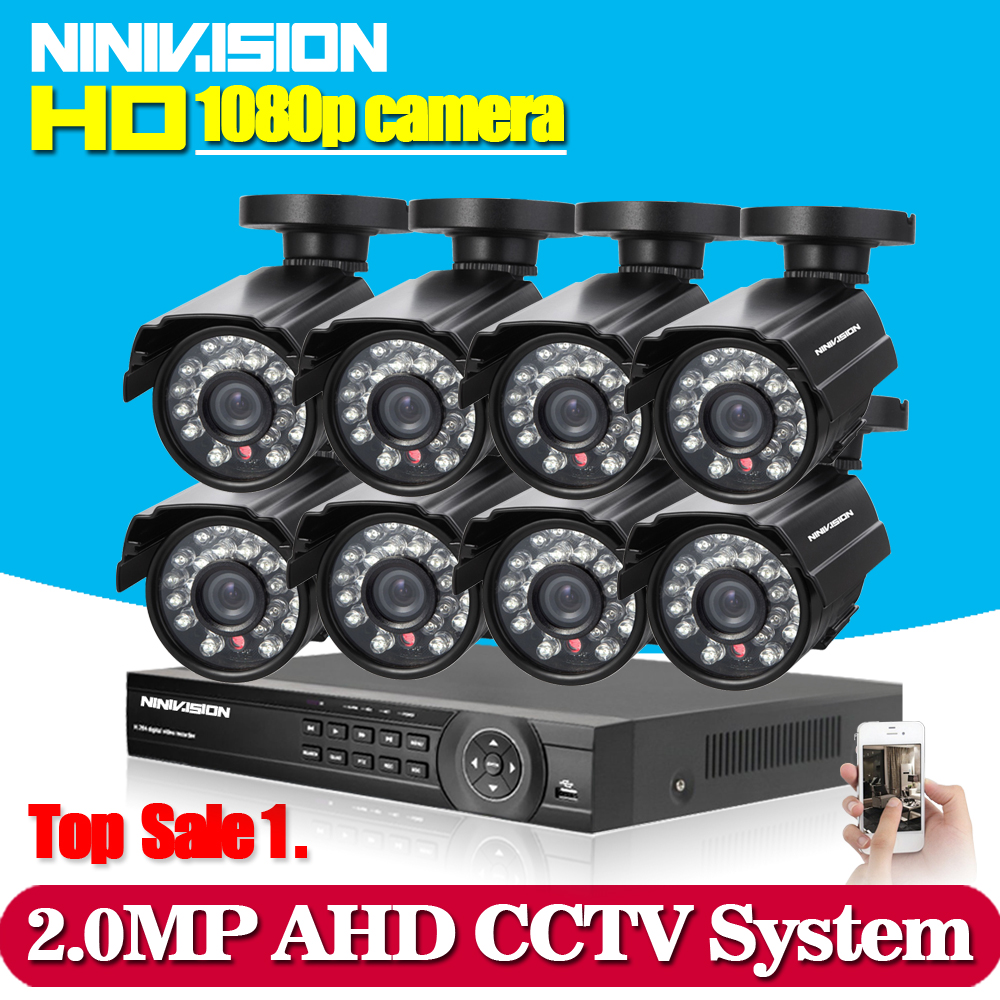1080P 8CH CCTV Security System 8 channel HDMI AHD NVR DVR HD 2.0MP outdoor indoor bullet Camera kit Video Surveillance System greatech hd 8 channel ahd dvr kit 720p video surveillance security outdoor indoor cctv 8 cameras 1200tvl ahd system 8ch